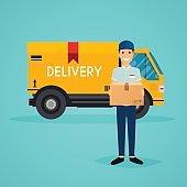 Delivery man  and track. Flat design modern vector illustration
