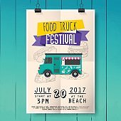 Food truck festival poster on wood texture background. Flat design style modern vector illustration concept.