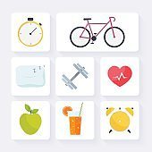 Icons for web: fitness, healthy food and metrics.