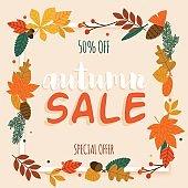 Autumn Sale Banner with leaf, Poster, Flyer. Vector illustration.