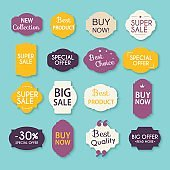 Collection of Sale Discount Styled origami Banners. Vector Illustration.