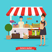 Farmers market. Woman  holds paper bag with healthy foods. Flat design modern vector illustration concept.