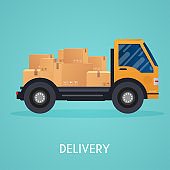 Moving truck and cardboard boxes. Moving House. Transport company.  Flat design style modern vector illustration concept.