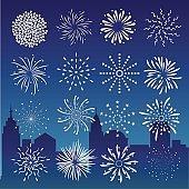 Fireworks on city at night landscape background.