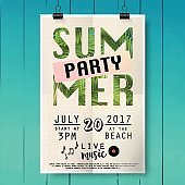 Summer party pster with palm leaf and lettering.