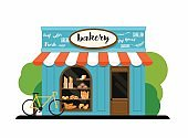 The facade of a bakery shop. Flat design modern vector illustration concept.