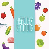 Healthy food and dieting concept. Healthy organic fresh and natural food. Flat design vector illustration