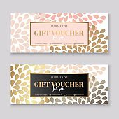 Voucher template with gold gift box,certificate.