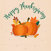 Happy Thanksgiving. Autumn Pumpkins and leaves. Flat design modern vector business concept.