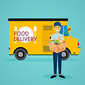 Delivery man and track. Food delivery. Flat design modern vector illustration concept.