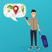 Young man holding mobile smart phone with mobile gps searching point on the city map. Vector modern flat creative info graphics design on search app. Flat design modern vector illustration concept.