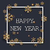 Happy New Year Greeting Card. Golden glitter snowflakes on dark background. Typography postcard template. Vector illustration.