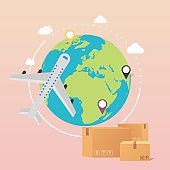 World Wide Delivery. Vector illustration of a world globe, an airplane and boxes.