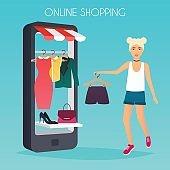 Girl make shopping online from phone.