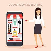 Girl make shopping online from phone. Sale.
