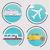 Different types of transportation. Business infographic. Vector illustration.