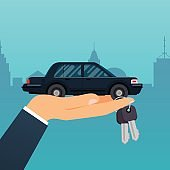 Car seller hand holding key to buyer. Selling, leasing or renting car service. Flat design modern vector illustration concept.