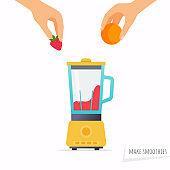 Make a smoothie. Hand holding fruit. Flat design modern vector illustration concept.