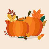 Autumn Pumpkins and leaves. Flat design modern vector business concept.