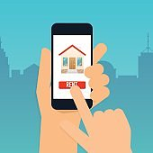 Hand holding mobile smart phone with rent apartments app. Offer of purchase house, rental of Real Estate. Flat design modern vector illustration concept.