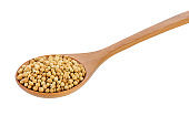 Coriander seeds in wood spoon on white background