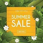 Summer Sale Banner. Poster, Flyer,  Vector. Blurred background.