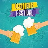 Craft beer festival. Two hands holding beer glass. Beer festival poster or flyer template. Flat vector illustration.