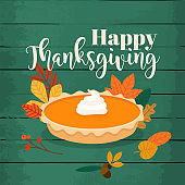 Happy Thanksgiving. Round bright orange homemade pumpkin pie in baking dish. Flat design modern vector business concept.