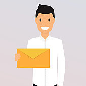 Man holding a mail. Manager or businessman shows email. Flat design style modern vector illustration concept.