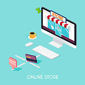Flat 3d web isometric e-commerce, electronic business, payment, delivery, shipping process, sales, black friday infographic concept vector. tablet buy button.
