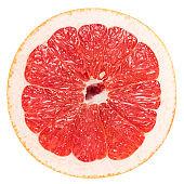 Macro Photo Of A Pink Grapefruit Slice Isolated On White