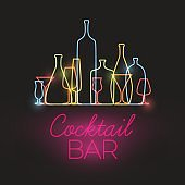 Vector Fresh Cocktail bar neon sign