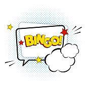 Bingo comic text isolated on white, vector illustration.