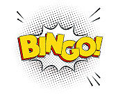 Bingo comic explosion isolated on white, vector illustration.
