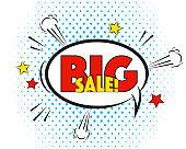 Big Sale comic pop art speech bubble isolated on white background.