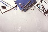 Assortment of school business supplies, crayons, pens, toned