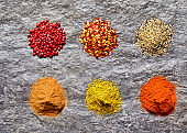 Overhead shot of spices collection on slate background