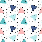 cute colorful brush drawn triangles with polka dot seamless vector pattern background illustration