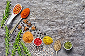 Overhead shot of various Indian spices on slate background