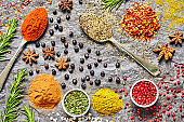 Overhead shot of Indian flavors and spices on slate background