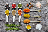 Flat lay of Indian herbs and spices on slate background