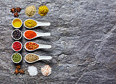 Overhead shot of Indian spices collection on slate