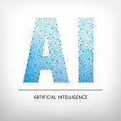 Artificial intelligence letters gray background