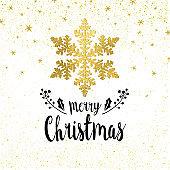 Golden Snowflake Christmas greeting card