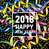 Happy new year 2018 confetti streamers