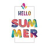 Hello summer color text quote in fun paper cut art