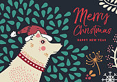 Christmas and new year winter dog greeting card