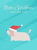 Christmas and new year holiday dog greeting card