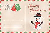 Merry Christmas retro snowman holiday postcard