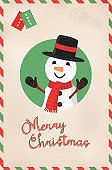 Merry Christmas vintage cute snowman postcard